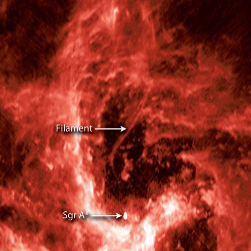 Kosmiczny filament sonduje gigantyczną czarną dziurę w naszej galaktyce