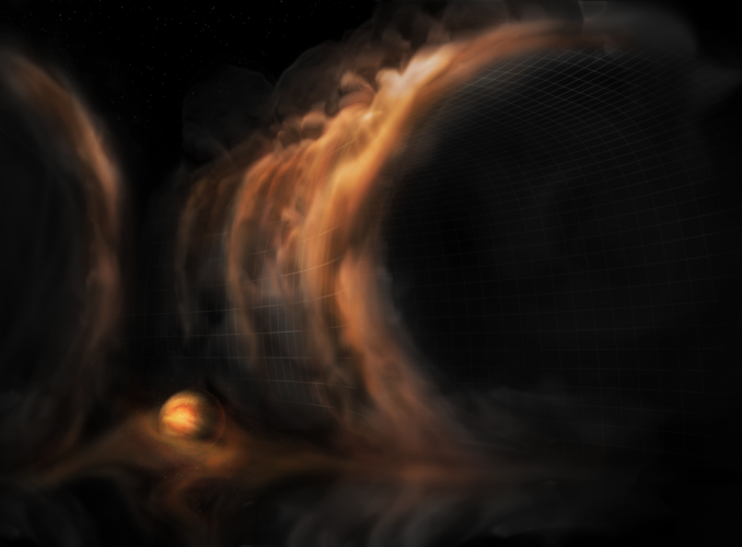 """Gazowe """"wodospady"""" ujawniają niemowlęce planety wokół młodej gwiazdy"""