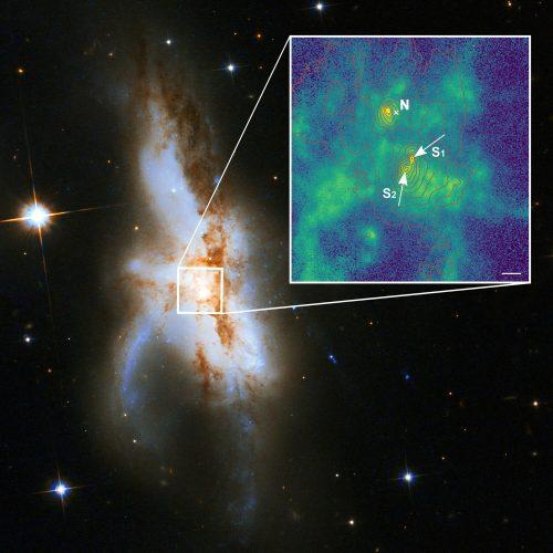 Trzy supermasywne czarne dziury w jądrze jednej galaktyki