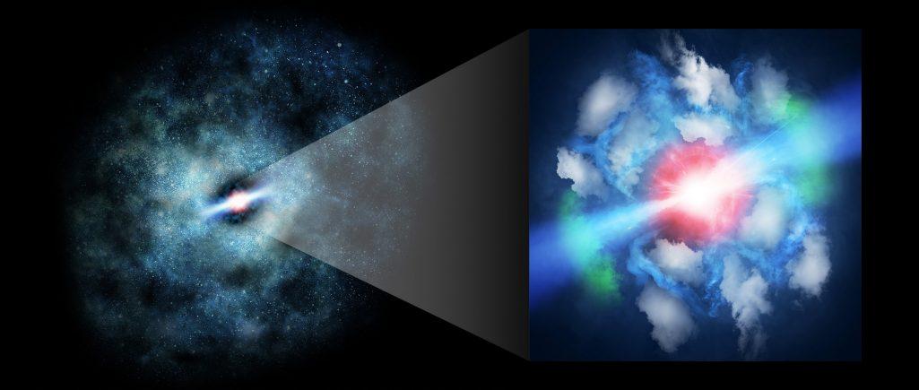 ALMA analizuje gaz uderzany przez młode dżety z supermasywnych czarnych dziur