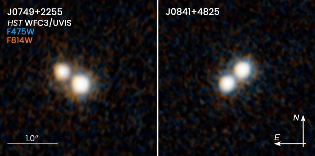 Hubble dostrzega podwójne kwazary w łączących się galaktykach